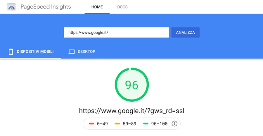 velocità caricamento sito internet