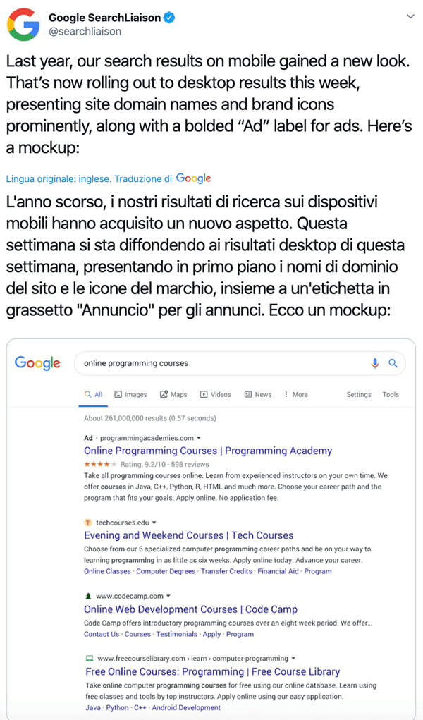 nuovo look risultati ricerca google