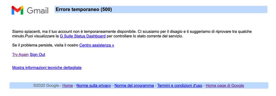 Gmail down non funziona