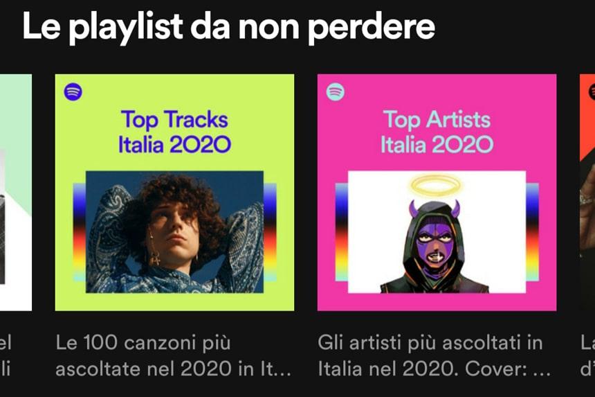spotify wrapped: top tracks e top artist italia
